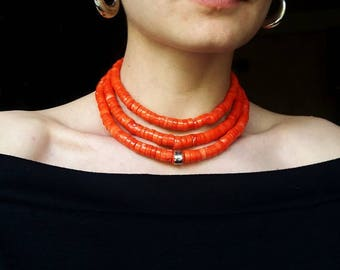 Antique coral necklace Red Coral Beads natural Coral Necklace Collares Etnicos Coral Jewelry Ukrainian Coral Necklace Beaded Real Coral 2