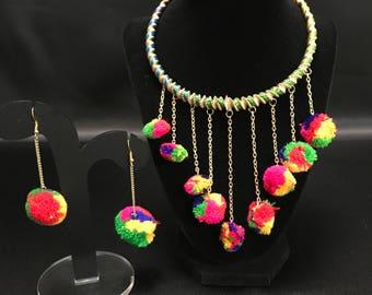Pom Pom Necklace - Pom Pom Earrings - Indian Jewelry - Bollywood Jewelry - Festival Jewelry - South Asian Jewelry - Silk Thread Jewelry -