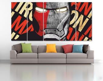 Iron Man Wall Art, Iron Man Civil War Poster, Marvel Wall Decor, Ironman Canvas Print, Iron Man Wall Decor, Marvel Kids, Superhero Art LC094