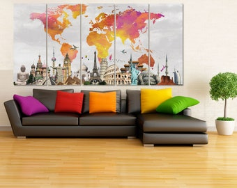 Extra Large Canvas Art Set World Map Canvas Watercolor World Map Wall Art Canvas Map, Colorful Wall Decor, Travel Map Art, Wanderlust Gift 5