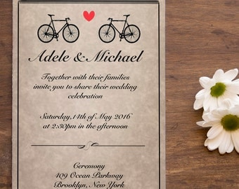 Digital Wedding Invitation / Digital Bicycle Invitation / Rustic Wedding Invitation