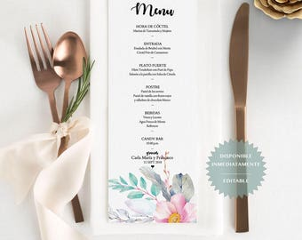 Menu de evento editable en PDF. Spanish printable table Menu. Wedding Menu. Menu para bodas