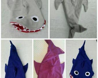 Extra Soft Shark Blanket, sharks, boy blanket, sleeping bag, blue, gray, grey, handmade