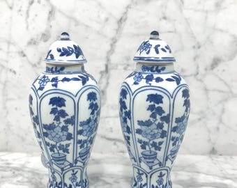 Blue and White Hand Painted Vases