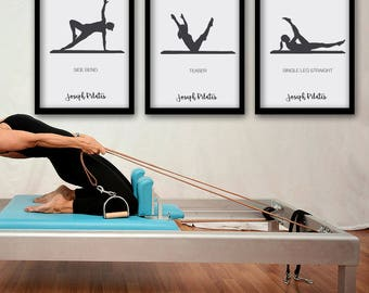 PILATES POSTER - Set 1 of 3 Pilates Poster - Pilates Art Print - Pilates Studio Decor - Pilates Inspiration  - Pilates Wall Decor - Wall Art