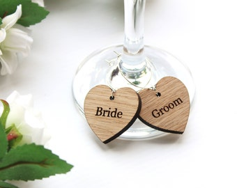 Wedding Favour Ideas, Wine Glass Charms, Wooden Wine Glass Charms, Personalised Wooden wedding wine glass charms,Name place settings,favours
