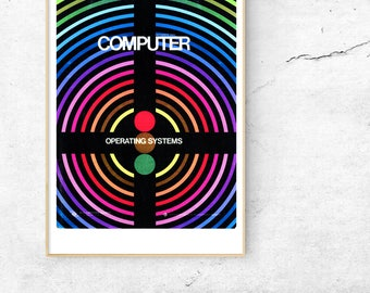 1970s Computer Poster Wall Art Science Geek Print Retro Graphic Design Rainbow Cool Office Art Midcentury Retro Colorful Poster Geek Gift