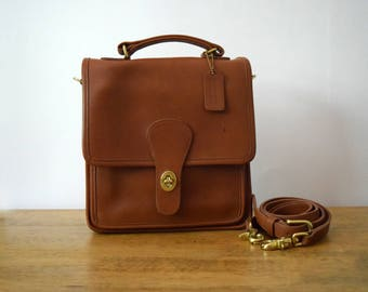 Vintage Coach Station Bag 5130 Tan Leather 1990's
