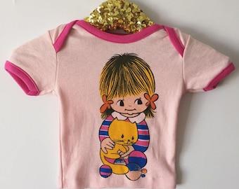 1970s Vintage Baby Pink Deadstock Girl Cartoon Cotton Ringer T Shirt  6-12m