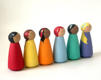 Waldorf Peg Dolls, Peg Doll, Peg dolls, Wooden Peg Dolls, Montessori Toys, Wooden Dolls, Montessori, Natural Toys, Wooden Peg People