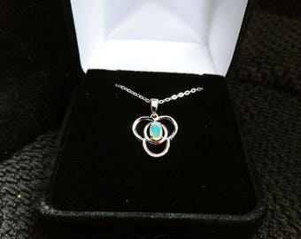 Opal Gemstone Solid Sterling Silver Necklace