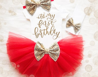 1st Birthday Shirt | 1st Birthday Girl Outfit | 1st Birthday Set | Cake Smash Outfit | Red And Gold 1st Birthday | 1st Birthday Tutu Set