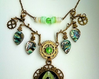 Steampunk Branch Necklace 'Green Beetle' Totem Glow in the Dark with Natural Gem Abalon Necklace Gothic Jewelry Witch Boho Forest Magic
