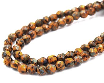 100/pc Sunflower Yellow Picasso Czech 4mm Fire-polished Faceted Round Beads