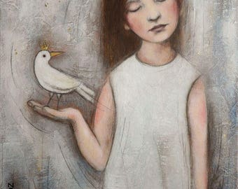 """Painting """"If you have to fly away"""" girl bird dream King Crown"""
