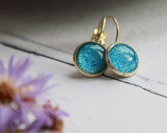 Sparkly Earrings - Blue Earrings - Handmade Earrings - Handmade Jewellery
