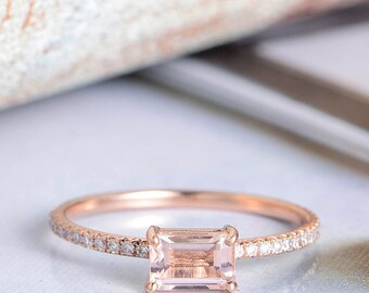 Emerald Cut Morganite Ring Rose Gold Engagement Ring  Diamond Half Eternity Band Women Unique Promise Antique Bridal Set Anniversary Thin