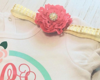 Coral and gold headband