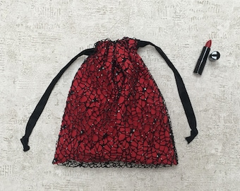 smallbags rhinestone Black Lace lined with red silk