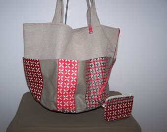 """Tote bag"" coated linen and cotton pockets"