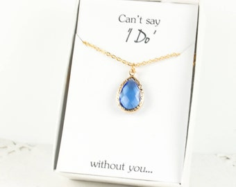 Bridesmaid Sapphire Gold Teardrop Necklace, Blue Gold Necklace, Gold Sapphire Necklace, Blue Wedding, Bridesmaid Jewelry, Bridesmaid Gift