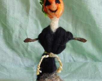 Felt Ornament| Scarecrow, Autumn Decoration, Pumpkin Head, Halloween Decoration, Jack O Lantern, Felt Doll, Seasonal Decoration,