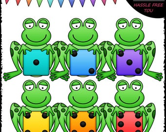 Colorful Dice Frogs Clip Art and B&W Set