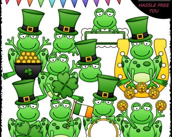 St. Patrick's Day Frogs Clip Art and B&W Set