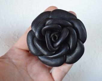 black rose Flower accessories hair Rose hair Bridal hair flower Boho Wedding accessories Stylish womens gift leather flower ponytail flowers