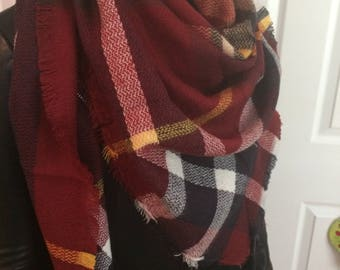Sale!Dark Berry Dream Most popular selling, Triangle Plaid Blanket Scarf,Cotton Triangle Blanket scarf, Plaid Scarf, Blanket plaid scarf