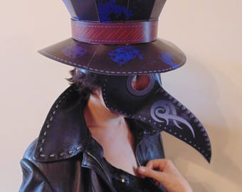 Plague doctor mask with hat. Plague doctor costume. Plague doctor half mask. Plague doctor hat. Plague doctor cosplay. Plague doctor. mask.