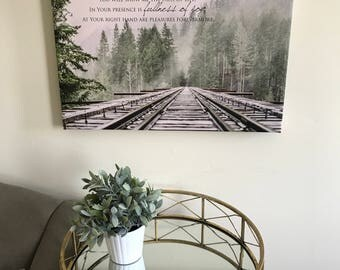 Christian Wall Art-- Railroad, fullness of joy, Psalm, Bible Verse