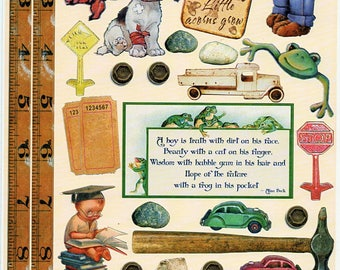 Little Boys Heartwarming Vintage Stickers Crafty Secrets Scrapbook Embellishments Card Making