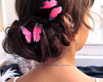 friend gift girl pink hair pin butterfly hair bobby pin pink butterfly jewelry beach wedding hair pin textile jewelry pink wedding accessory