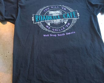 90's Wall Drug South Dakota Roadkill Cafe Tshirt Size XL