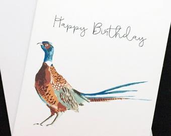 "Pheasant birthday card, Happy Birthday, watercolor, 5""x7"", wild bird card"