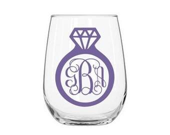 Ring Monogram Decal, Wedding Monogram, Engagement Gift, Bridal Monogram, DIY Engagement Gift, Gift for the Bride, Wedding Tumbler Decal