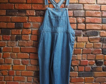Women's 90s Blue Denim Overalls With Embroidery Hem Size Large