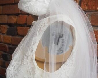 Women's 50s White Wedding Cap Hat And Veil