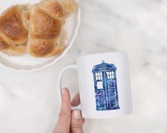 Doctor Who Tardis Watercolor Mug, Doctor Who Tardis Mug, Tardis Mug, Doctor Who Mug