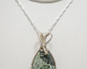 Beautiful Seraphinite Wire Wrapped Pendant - Wrapped in .935 Argentium Silver