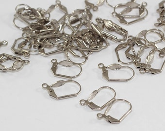 50 Pcs Silver Brass Earring, Ear Hooks, Ear Wires, Earring Findings, SGN7
