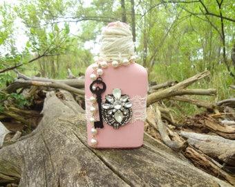 Shabby Chic Bottle, Pink, Upcycled, Vintage Decor, Mixed Media, Glass Bottle, Decorative Bottle, Altered Bottle, Cottage Chic, Granny Chic