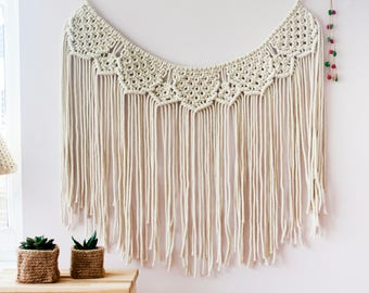 Macrame Wall Hanging, Macrame Garland, Macrame Curtain, Wall Banner, Backdrop Wedding, Macrame Wall Tapestry, Wedding Garland