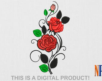 INSTANT DOWNLOAD - Curved Roses machine embroidery design. Flowers embroidery. Plants embroidery. Embroidery file