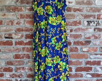 Vintage Hawaiian Full Length Blue Floral Muumuu