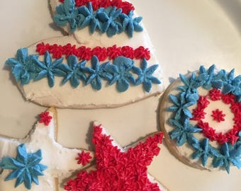 Fourth of July Cookies - 4th of July Sugar Cookies - July 4th Cookies - Red, White, and Blue Cookies - Decorated Sugar Cookies