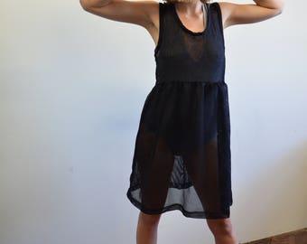 90s Mesh Babydoll Dress, Jersey Knit Short Dress, Sz S/M