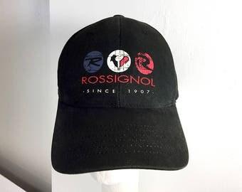 Rossignol Skis Vintage Trucker Hat / One-Size Velcro Strap Baseball Cap / Black Rossignol Hat / Rossignol Rooster Logo Hat Hipster Ski Wear