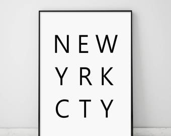 new yrk cty, NYC Typography, new yrk cty poster, New York Typography Print, New York City Typography, NYC, New York, Black and White NYC